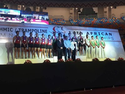 Nemato gymnasts winning team gold at the African Champs
