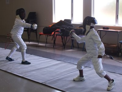 Aphelele (right) fencing in PE