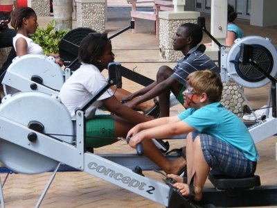 rowers and visitors on our ergos at Rosehill Mall