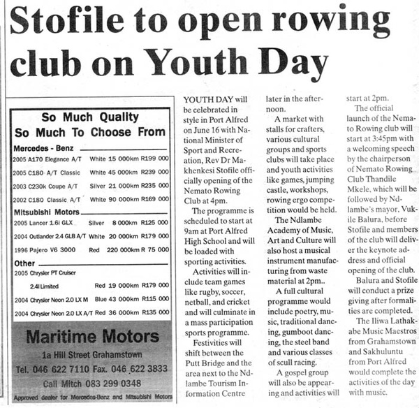 "Talk of the Town"" Stofile to open rowing club on Youth Day"""