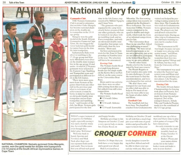 "Talk of the Town ""National glory for gymnast"""