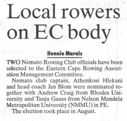 "Talk of the Town: ""Local rowers on EC body"""