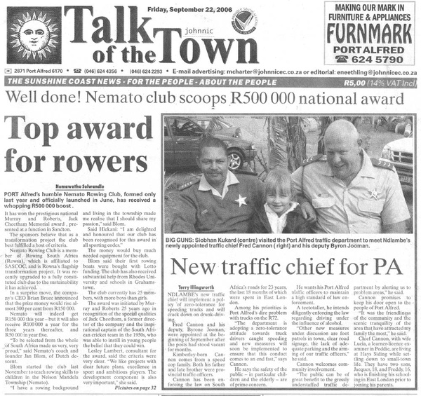 "Talk of the town: ""Top award for rowers"""