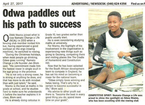 "Talk of the Town: ""Odwa paddles out his way to success"""