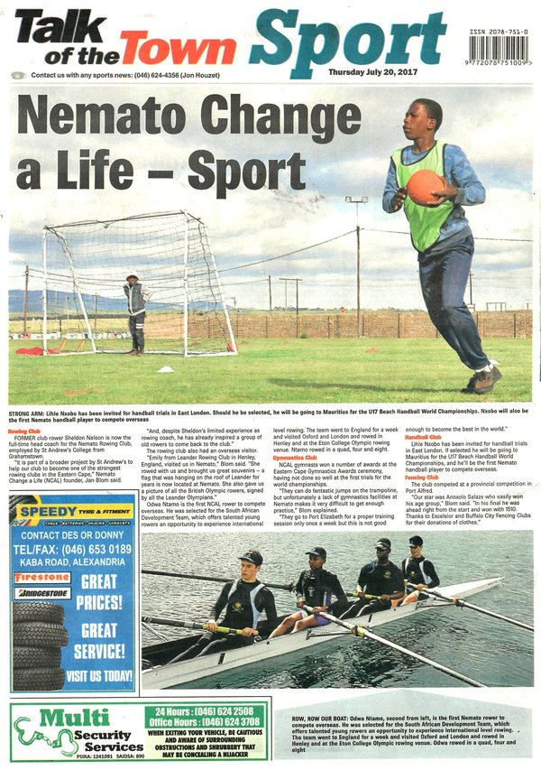"Talk of the Town: ""Nemato Change a Life - Sport"""
