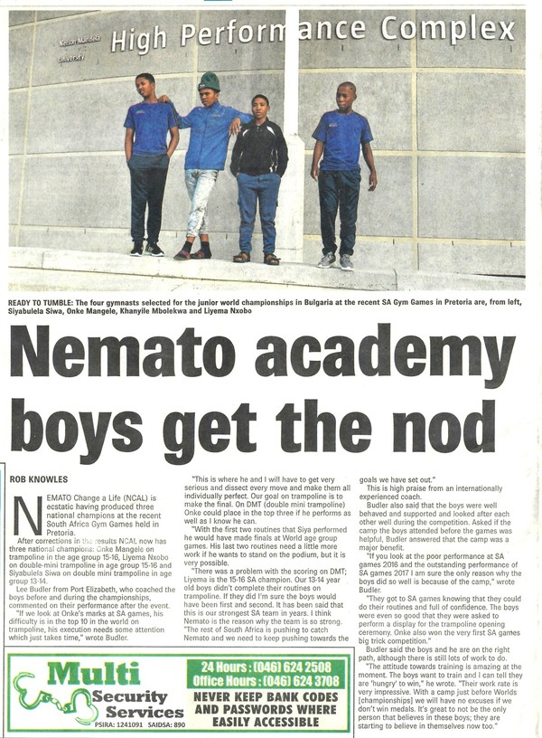"Talk of the Town: ""Nemato academy boys get the nod"""