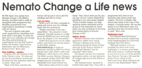 "Talk of the Town: ""Nemato Change a Life news"""