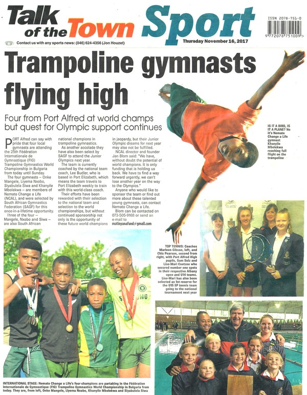 "Talk of the Town: ""Trampoline gymnasts flying high"""