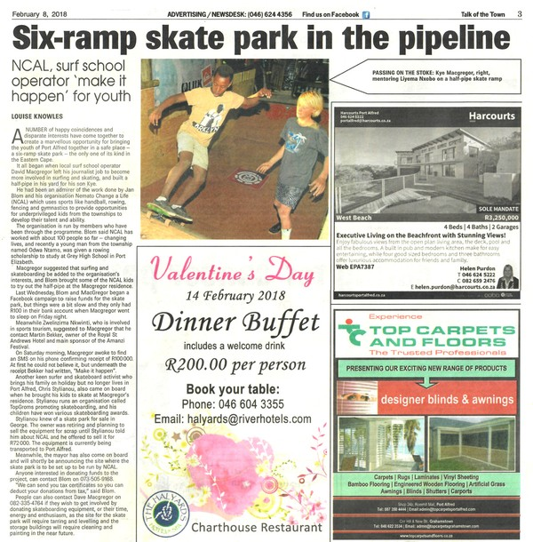 "Talk of the Town: ""Six-ramp skate park in the pipeline"""
