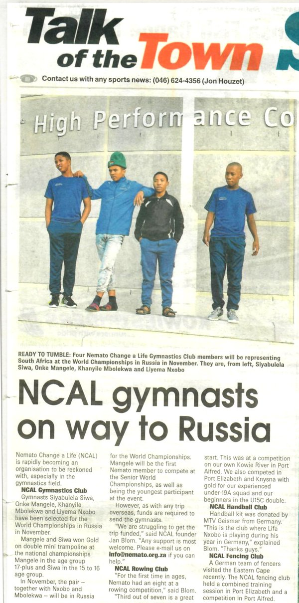 "Talk of the Town: ""Nemato Change a life member will be representing South Africa at the World Championship in Russia."""
